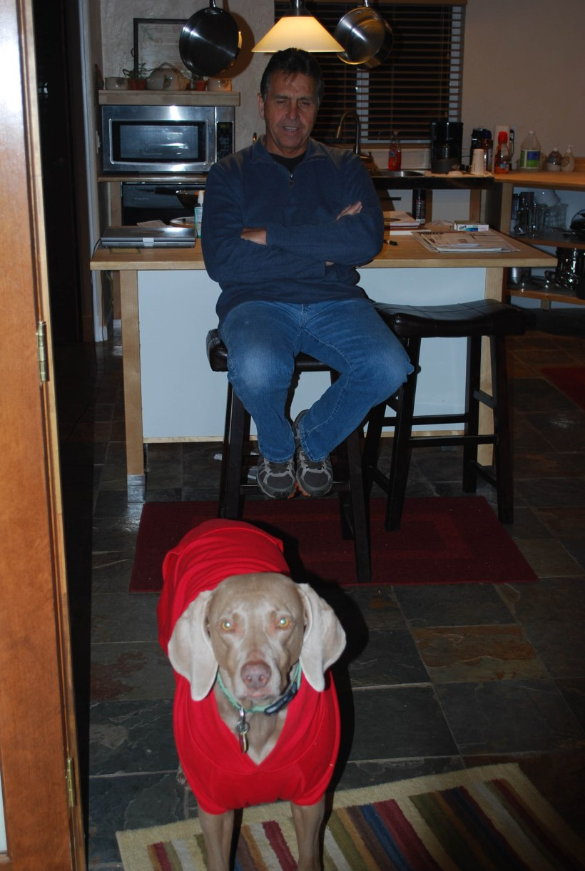Ron with Rainy in her pretty red jacket Photo by Lisa L. Day